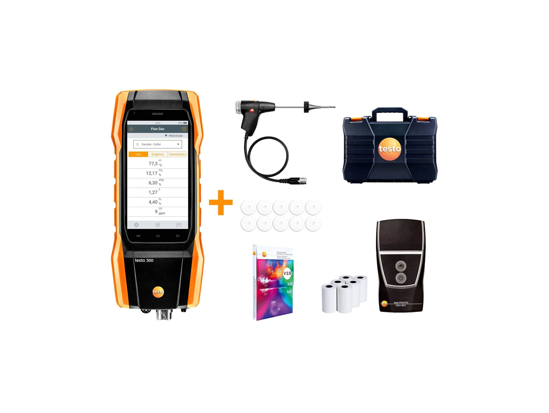 testo 300 Longlife kit 2 with printer - Flue gas analyzer (O2, CO H2-compensated up to 30,000 ppm, NO - can be retrofitted)